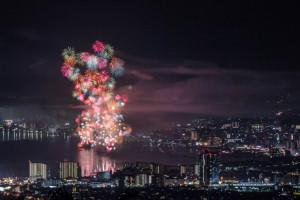 びわ湖大花火大会の俯瞰撮影