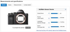 SONY a7S - DxOMark Sensor Scores